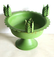 "1960s Green Metal Candle Tulip Tapers Holder Outdoor Dining 6"" tall FREE SH"