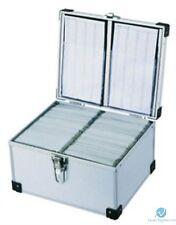2 X Neo Silver Aluminium DJ Flight Carry Case holding 300 Disks with Sleeve Lock