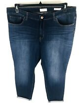 Jessica Simpson Womans Crop Jeans size 22W Forever Rolled Skinny Blue Stretch