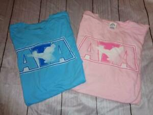 LOT OF 2 NEW ATA AUTHENTIC T- SHIRTS PINK AND BLUE SIZE LARGE~ FREE US SHIP