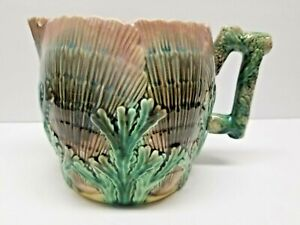 ETRUSCAN GRIFFIN SMITH  HILL MAJOLICA SHELL & SEAWEED PITCHER CHIPPED