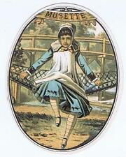 Musette  outer cigar box label 1880's little girl hammock