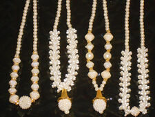 Girls Ladies Pearl Necklace Jewellary Drop White Ivory Golden Beaded Pendant New