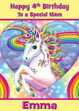 unicorn personalised A5 birthday card daughter sister niece granddaughter name