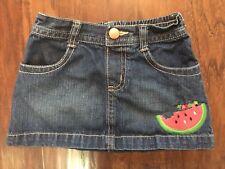 Gymboree Watermelon Summer 2T Denim Skirt Embroidered Caterpillar Elastic Waist