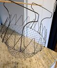 Vintage Wire Mesh Collapsible Egg Gather Basket Rustic Farmhouse French Countrt
