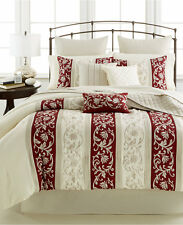 Keeco Mara 5 Piece QUEEN Comforter Set IVORY / CRIMSON Bedding 10 B093
