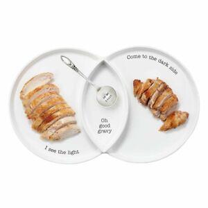 Mud Pie H0 Thanksgiving Dining Dolomite Divided Turkey Dish & Spoon 2pc Set