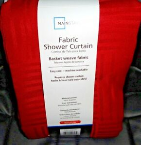 NEW MAINSTAYS Fabric Shower Curtain Red basket weave fabric 70 x 72