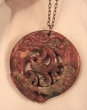 Huge Green & Caramel Openwork Coiled Dragon Natural Stone Goldtone Necklace