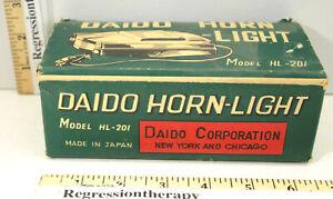 Vintage 1950s Daido Bicycle Horn-Light Model HL-201 Automotive Design Made Japan
