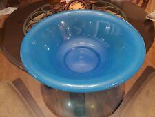 "VINTAGE ANTIQUE FRENCH BLUE OPALINE? GLASS 19thC LARGE BASIN BOWL 15"""