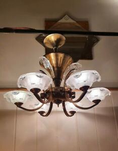 Ezan Atelier Petitot, Sabino 1930's Art Deco Chandelier, Copper & Ezan Glass