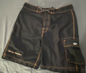 Harley Davidson Swim Board Shorts M Classic Black And Orange Men's Trunks