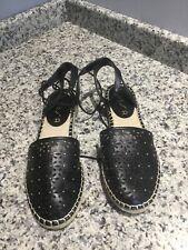 UNISA Ankle Tie Espadrille Black Flat Sandal Shoes Women's - Size 8.5 Medium.