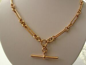 GENUINE SOLID 9ct ROSE GOLD ALBERT CHAIN FOB NECKLACE with T-BAR and SWIVELS