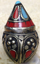 Middle Eastern Turquoise Coral Silver Kuchi Ring Size 7