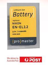 ProMaster Lithium ion battery replacement for: Nikon EN-EL12 3.7v/1100mAh
