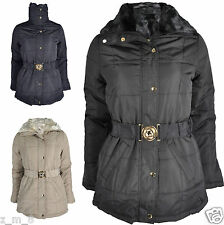 Ladies Fur Collar Padded Quilted Puffer Belted Zip Warm Winter Jacket Coat Parka