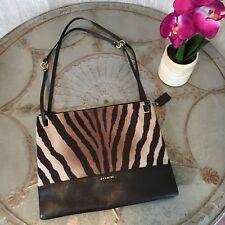 Style  Crossbody. Coach Madison Brown Multi Zebra Convertible Hippie File Bag  Handbag 51086 8eec5a1175