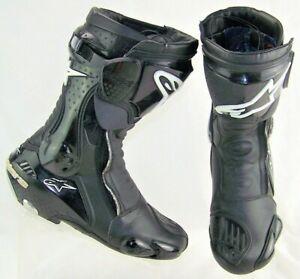 ALPINESTARS SMX Plus Black Side Zip Adjustable LockingTabs Race Boots US 9/EU 43