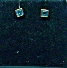 Vintage 9ct yellow gold Aquamarine stud earrings.