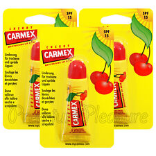 3 x Carmex Cherry Lip Balm Tube Flavored SPF15 Water Resistant 10g/0.35oz USA