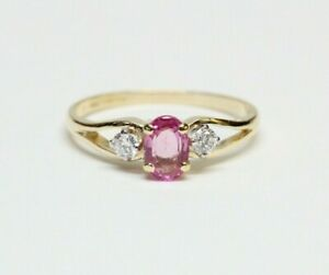 Vintage 18k Gold, PINK SAPPHIRE, Diamond Ring - Platinum Settings - English