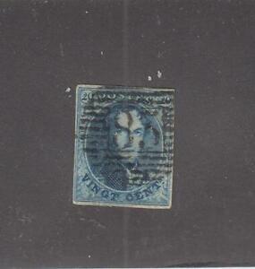 BELGIUM (MK6321) # 7  VF-USED 20c  1854 KING LEOPOLD I / BLUE/ 4 MARGINS