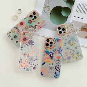 For iPhone 13 12 11 Pro Max XS XR 8 7 Flower Shockproof Soft   Clear Case Cover