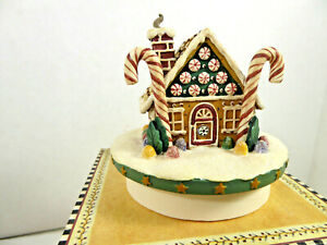 Our America Debbie Mumm Candy Cane Gingerbread House #8008 Candle Topper NIB