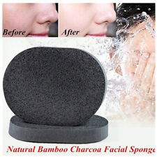 2pc Natural Black Bamboo Charcoa Sponge Face Washing Exfoliator Cleaning Tool