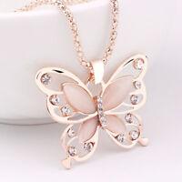 Opal Anhänger Kette Pullover Rose Halskette Schmuck Jewelry-Schmetterling·Gold