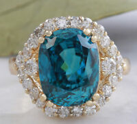 8.70 Carats NATURAL BLUE ZIRCON and DIAMOND 14K Solid Yellow Gold Ring