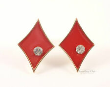Playing Cards Diamonds Poker Gold Red Crystal Jewellery Stud Earrings