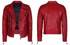 Red Leather men's diamond quilted bikerjacket veste vélo rouge en cuir véritable