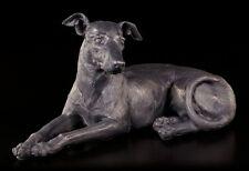 Windhund Figur - Greyhound liegend Hund Bronze-Optik Statue Deko
