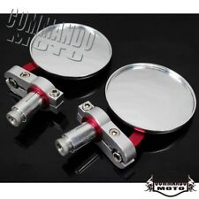 """Pair CNC 7/8"""" Handle Bar End Round Rearview Mirrors Universal For Yamaha Ducati"""
