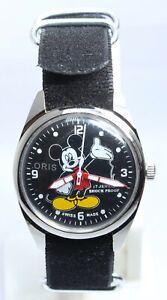 vintage [OrIs Mickey Mouse Dial Cartoon shock proof 17j wrist watch hand wind
