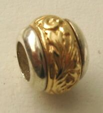 GENUINE SERENITY 9ct YELLOW GOLD & 925 STERLING SILVER CHARM PATTERN BEAD