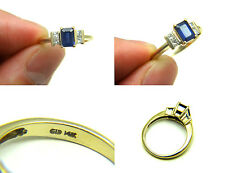 1.20ct Emerald Cut Blue Sapphire Diamond 14k Yellow Gold Engagement Wedding Ring
