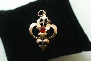 Art Nouveau Pendant 9ct Gold Red Gemstone Antique