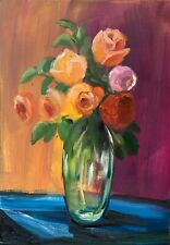 WATCH VIDEO Original oil painting art floral bright contemporary style roses