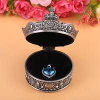 Vintage Hand Carved Metal Jewelry Trinket Case Earrings Jewellery Storage Box xx