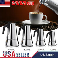 Stainless Steel Stovetop Espresso Coffee Maker Moka Pot Percolator 2/4/6/9 Cups