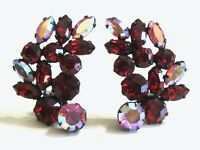VINTAGE RHINESTONE GLASS RED PINK AB AURORA BOREALIS MARQUISE CLIP ON EARRINGS