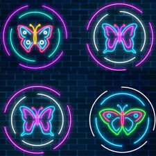 Bespoke 14''x12'' White Purple Blue Pink Led Neon Sign Light Butterfly Art Neon