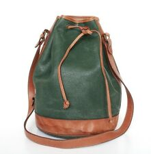 Vintage Drawstring Bag - Green /  Brown Leather & Vinyl- 1980s - Large