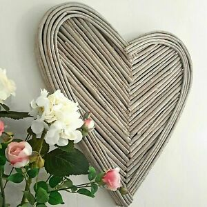 70cm Washed Grey Willow Branch Love Heart Hanging Rustic Wicker Wall Art Home