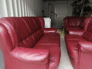 3 2 1 couch garnitur leder in rot